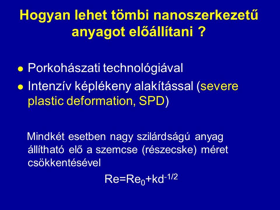 Hogyan lehet tömbi nanoszerkezetű anyagot előállítani ?  Porkohászati technológiával  Intenzív képlékeny alakítással (severe plastic deformation, SP