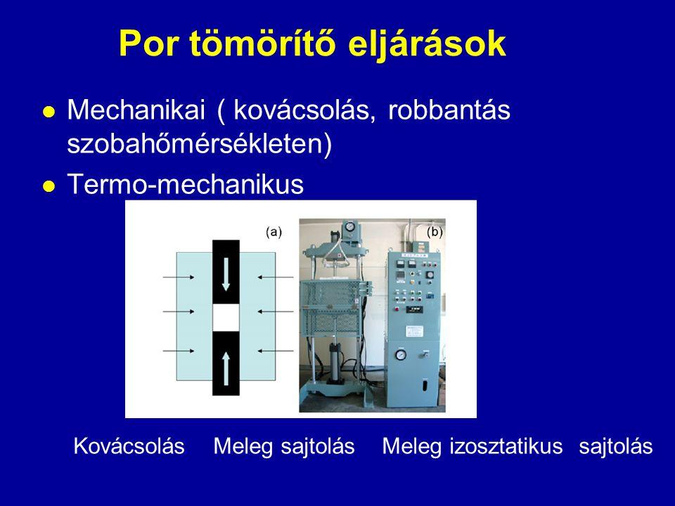 Por tömörítő eljárások  Mechanikai ( kovácsolás, robbantás szobahőmérsékleten)  Termo-mechanikus Kovácsolás Meleg sajtolás Meleg izosztatikus sajtol