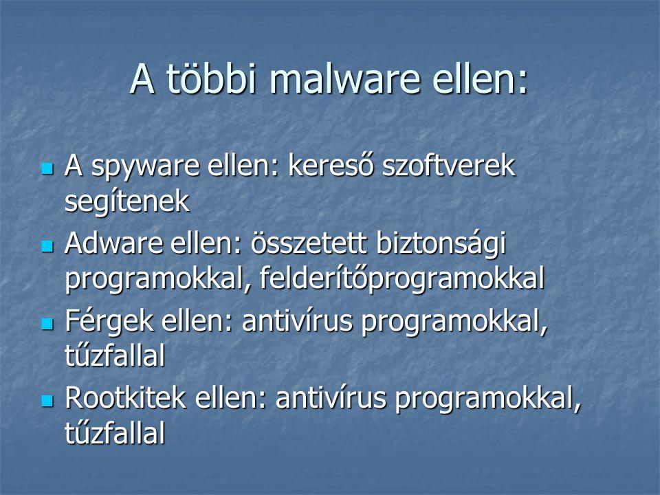 A többi malware ellen:  A spyware ellen: kereső szoftverek segítenek  Adware ellen: összetett biztonsági programokkal, felderítőprogramokkal  Férge