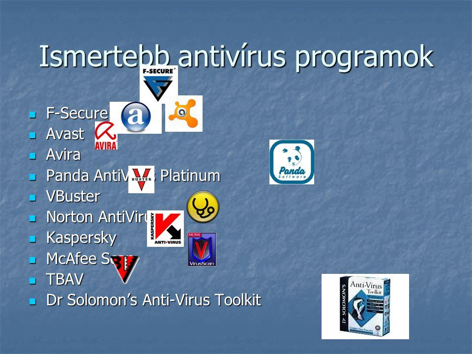 Ismertebb antivírus programok  F-Secure  Avast  Avira  Panda AntiVirus Platinum  VBuster  Norton AntiVirus  Kaspersky  McAfee Scan  TBAV  Dr