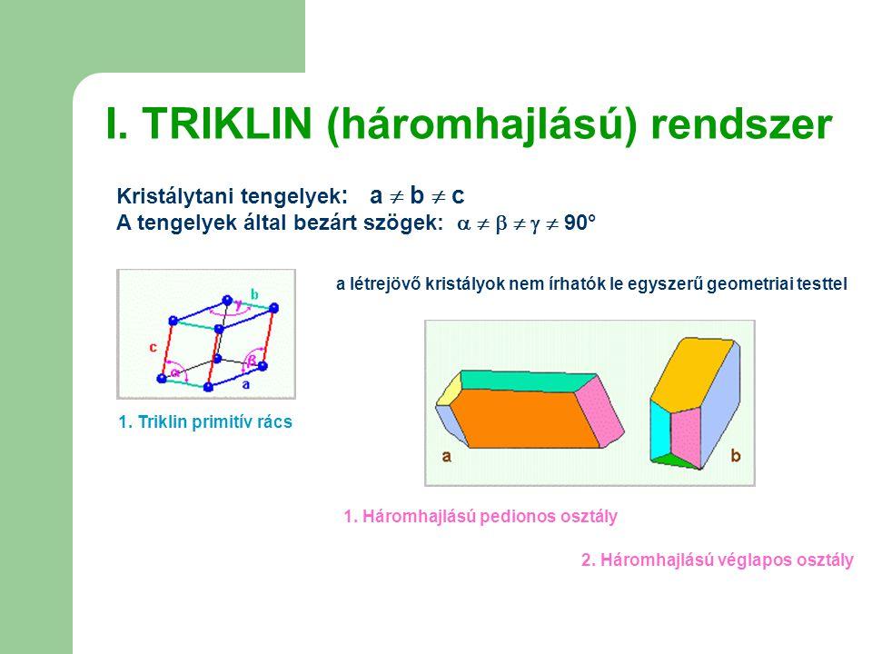 I. TRIKLIN (háromhajlású) rendszer Kristálytani tengelyek : a  b  c A tengelyek által bezárt szögek:       90° 1. Triklin primitív rács a létr