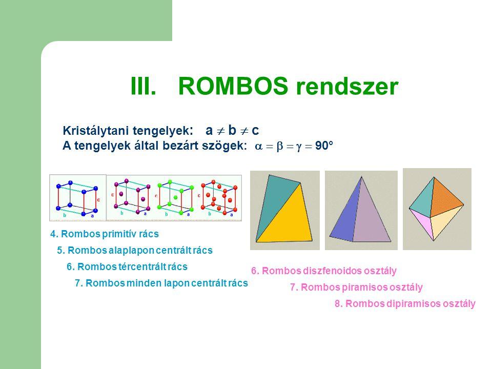 III. ROMBOS rendszer Kristálytani tengelyek : a  b  c A tengelyek által bezárt szögek:       90° 4. Rombos primitív rács 6. Rombos tércentrált