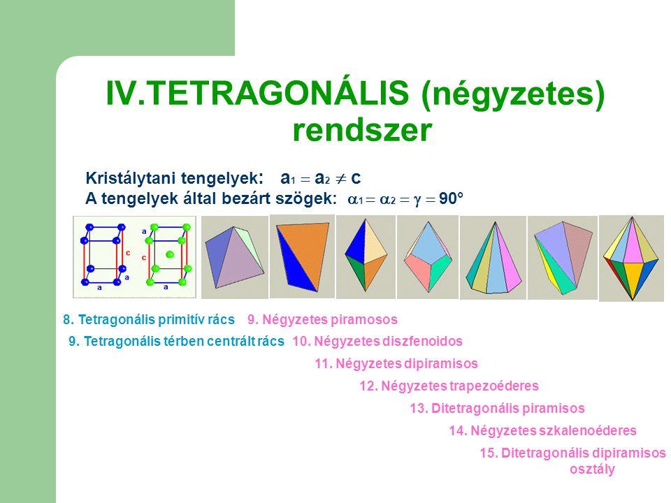 IV.TETRAGONÁLIS (négyzetes) rendszer Kristálytani tengelyek : a 1  a 2  c A tengelyek által bezárt szögek:  1   2    90° 8. Tetragonális primi