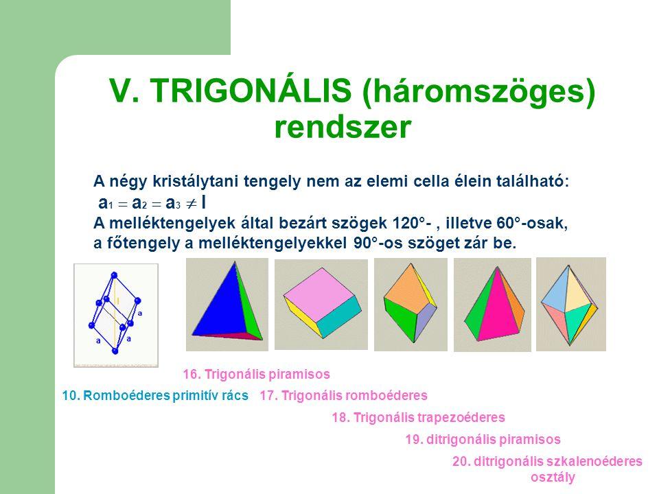 V. TRIGONÁLIS (háromszöges) rendszer A négy kristálytani tengely nem az elemi cella élein található: a 1  a 2  a 3  l A melléktengelyek által bezár
