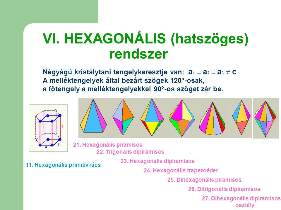 VI. HEXAGONÁLIS (hatszöges) rendszer Négyágú kristálytani tengelykeresztje van: a 1  a 2  a 3  c A melléktengelyek által bezárt szögek 120°-osak, a