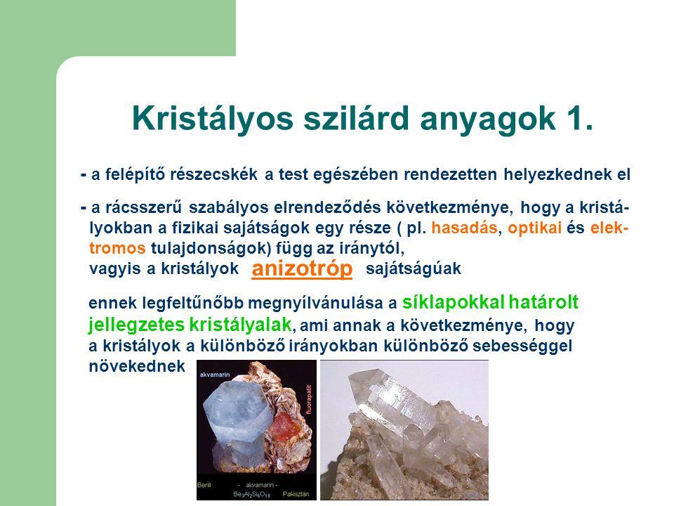 Kristályos szilárd anyagok 2.