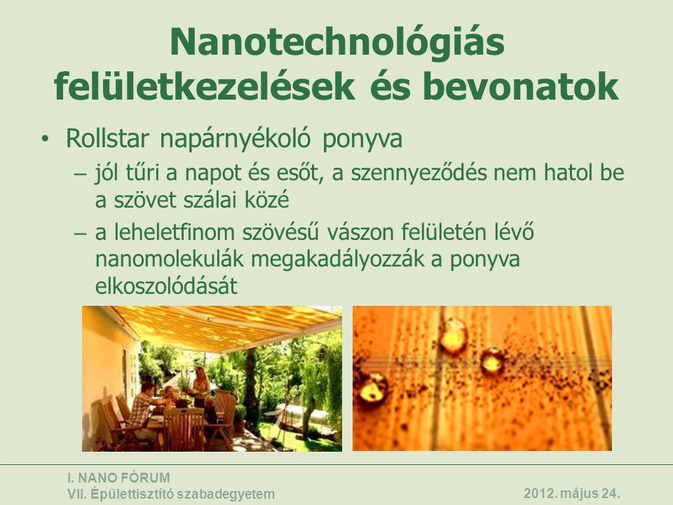 Nanotechnológiás felületkezelések és bevonatok • Rollstar napárnyékoló ponyva – jól tűri a napot és esőt, a szennyeződés nem hatol be a szövet szálai