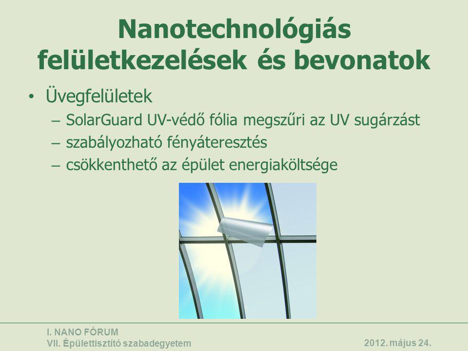 Nanotechnológiás felületkezelések és bevonatok • Üvegfelületek – SolarGuard UV-védő fólia megszűri az UV sugárzást – szabályozható fényáteresztés – cs