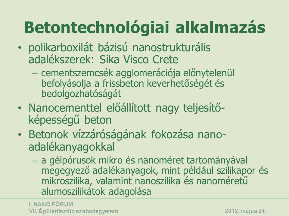 Betontechnológiai alkalmazás • polikarboxilát bázisú nanostrukturális adalékszerek: Sika Visco Crete – cementszemcsék agglomerációja előnytelenül befo