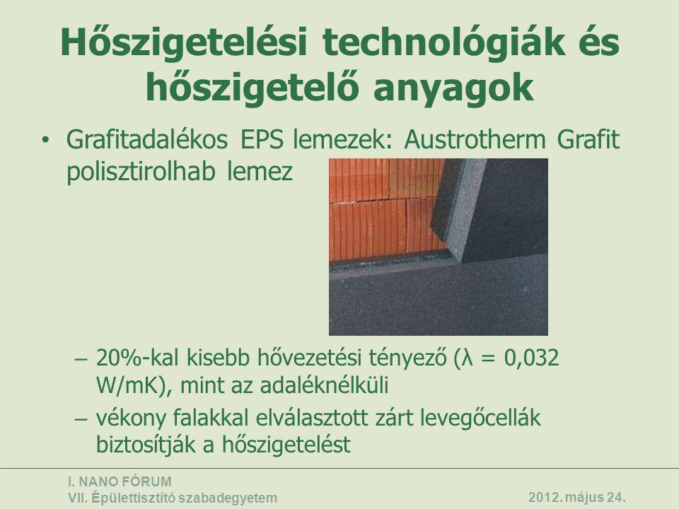 Hőszigetelési technológiák és hőszigetelő anyagok • Grafitadalékos EPS lemezek: Austrotherm Grafit polisztirolhab lemez – 20%-kal kisebb hővezetési té