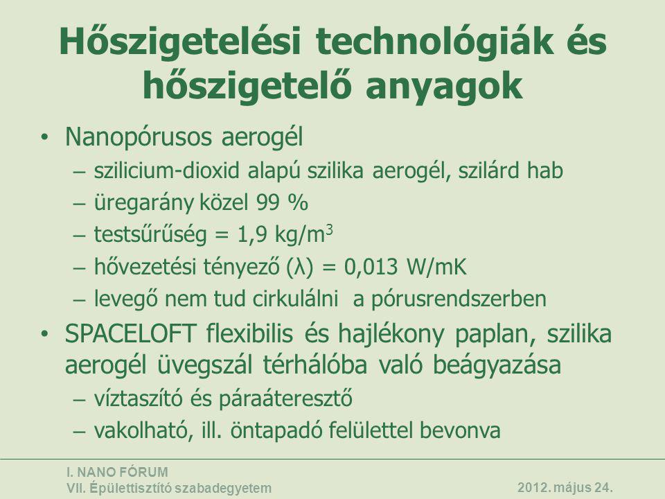 Hőszigetelési technológiák és hőszigetelő anyagok • Nanopórusos aerogél – szilicium-dioxid alapú szilika aerogél, szilárd hab – üregarány közel 99 % –