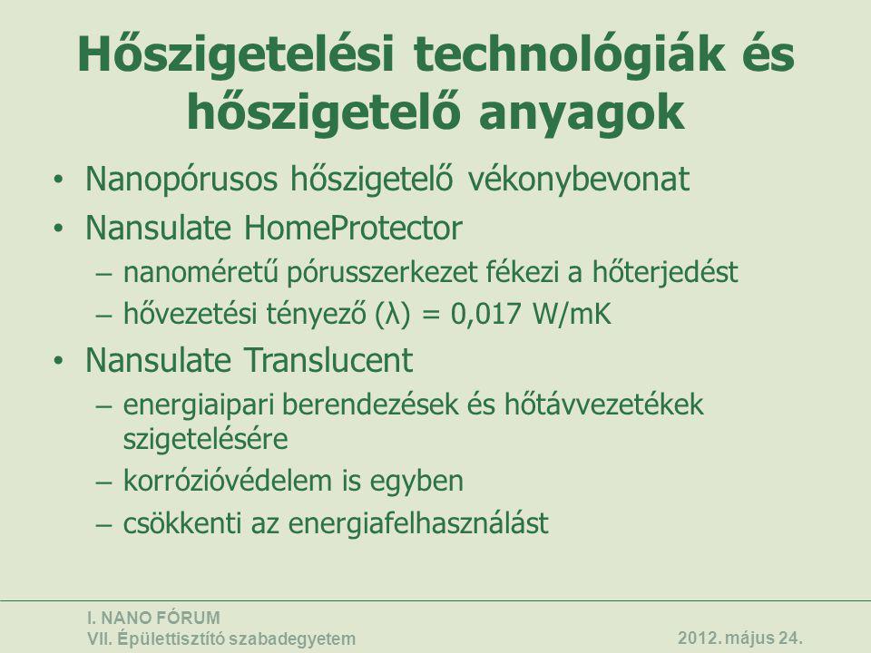 Hőszigetelési technológiák és hőszigetelő anyagok • Nanopórusos hőszigetelő vékonybevonat • Nansulate HomeProtector – nanoméretű pórusszerkezet fékezi