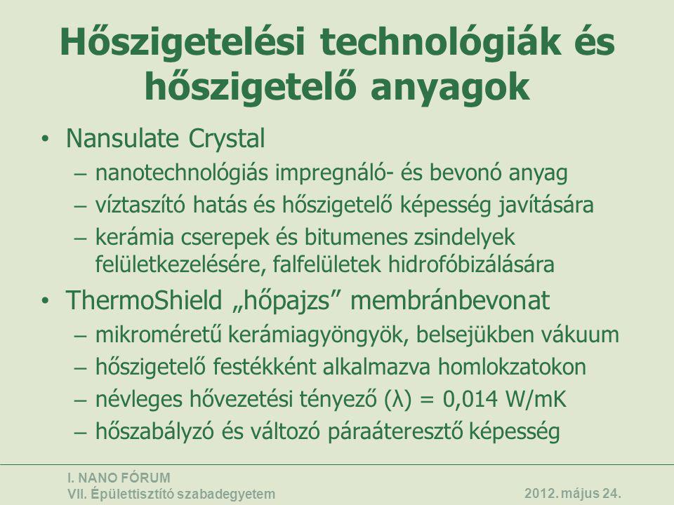 Hőszigetelési technológiák és hőszigetelő anyagok • Nansulate Crystal – nanotechnológiás impregnáló- és bevonó anyag – víztaszító hatás és hőszigetelő