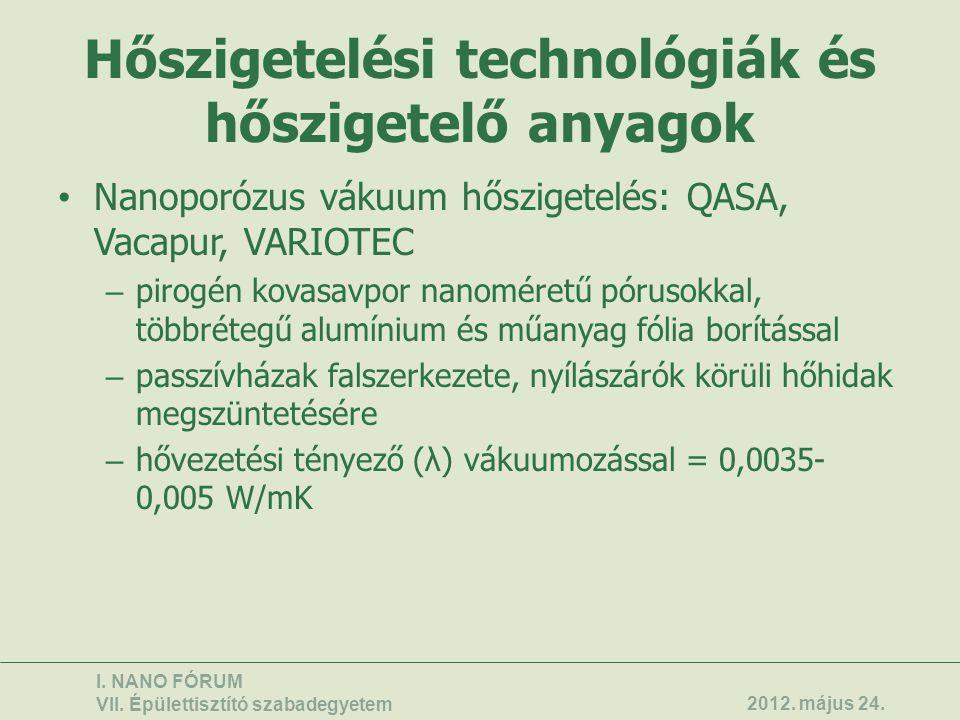 Hőszigetelési technológiák és hőszigetelő anyagok • Nanoporózus vákuum hőszigetelés: QASA, Vacapur, VARIOTEC – pirogén kovasavpor nanoméretű pórusokka