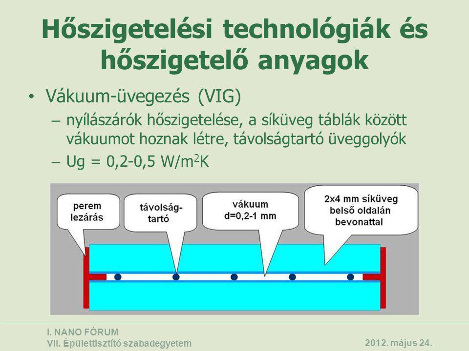 Hőszigetelési technológiák és hőszigetelő anyagok • Vákuum-üvegezés (VIG) – nyílászárók hőszigetelése, a síküveg táblák között vákuumot hoznak létre,