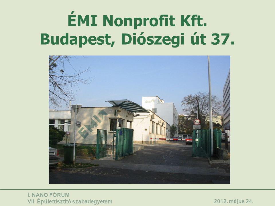 ÉMI Nonprofit Kft. Budapest, Diószegi út 37. I. NANO FÓRUM VII. Épülettisztító szabadegyetem 2012. május 24.