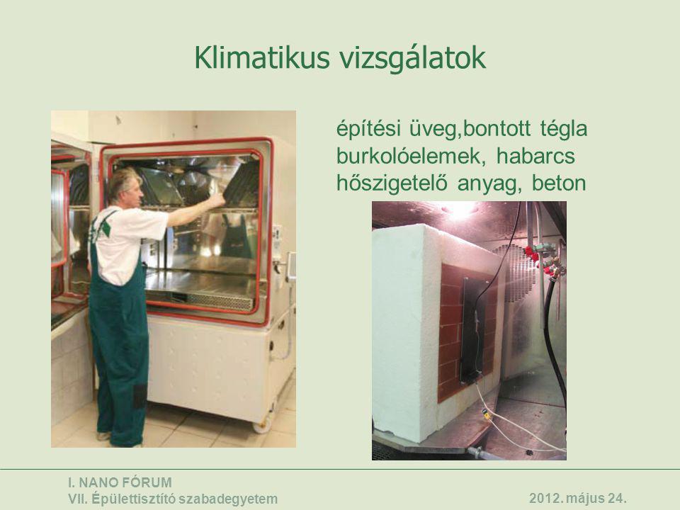 Klimatikus vizsgálatok építési üveg,bontott tégla burkolóelemek, habarcs hőszigetelő anyag, beton I. NANO FÓRUM VII. Épülettisztító szabadegyetem 2012