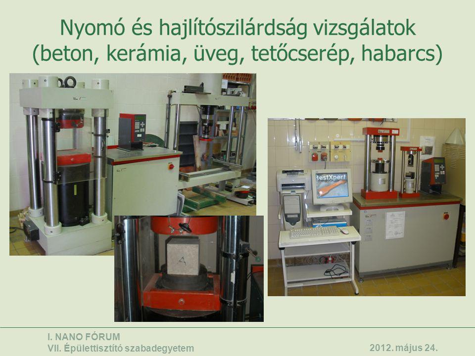 Nyomó és hajlítószilárdság vizsgálatok (beton, kerámia, üveg, tetőcserép, habarcs) I. NANO FÓRUM VII. Épülettisztító szabadegyetem 2012. május 24.