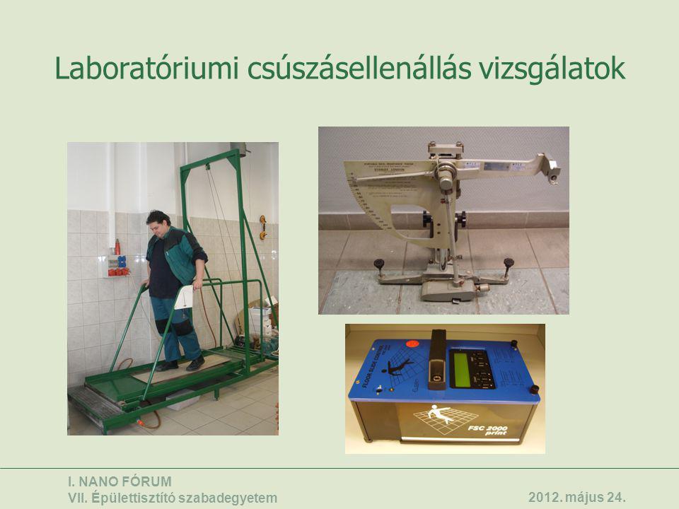 Laboratóriumi csúszásellenállás vizsgálatok I. NANO FÓRUM VII. Épülettisztító szabadegyetem 2012. május 24.