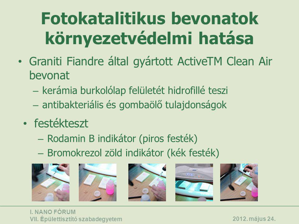Fotokatalitikus bevonatok környezetvédelmi hatása • Graniti Fiandre által gyártott ActiveTM Clean Air bevonat – kerámia burkolólap felületét hidrofill