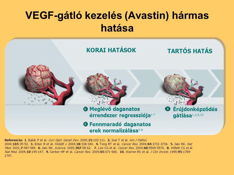 VEGF-gátló kezelés (Avastin) hármas hatása Referencia: 1. Baluk P et al. Curr Opin Genet Dev. 2005;15:102-111. 2. Inai T et al. Am J Pathol. 2004;165: