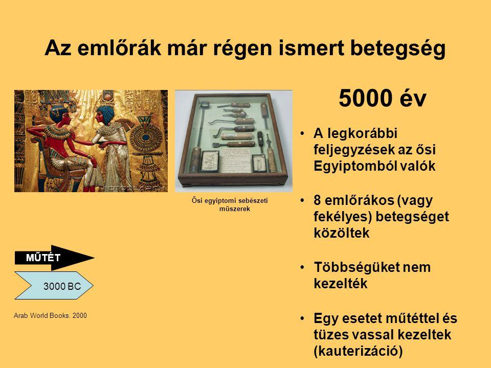 Az emlőrák már régen ismert betegség •A legkorábbi feljegyzések az ősi Egyiptomból valók •8 emlőrákos (vagy fekélyes) betegséget közöltek •Többségüket