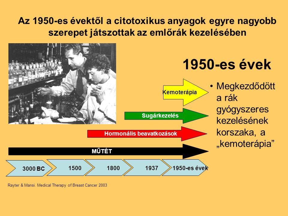 Az 1950-es évektől a citotoxikus anyagok egyre nagyobb szerepet játszottak az emlőrák kezelésében •Megkezdődött a rák gyógyszeres kezelésének korszaka