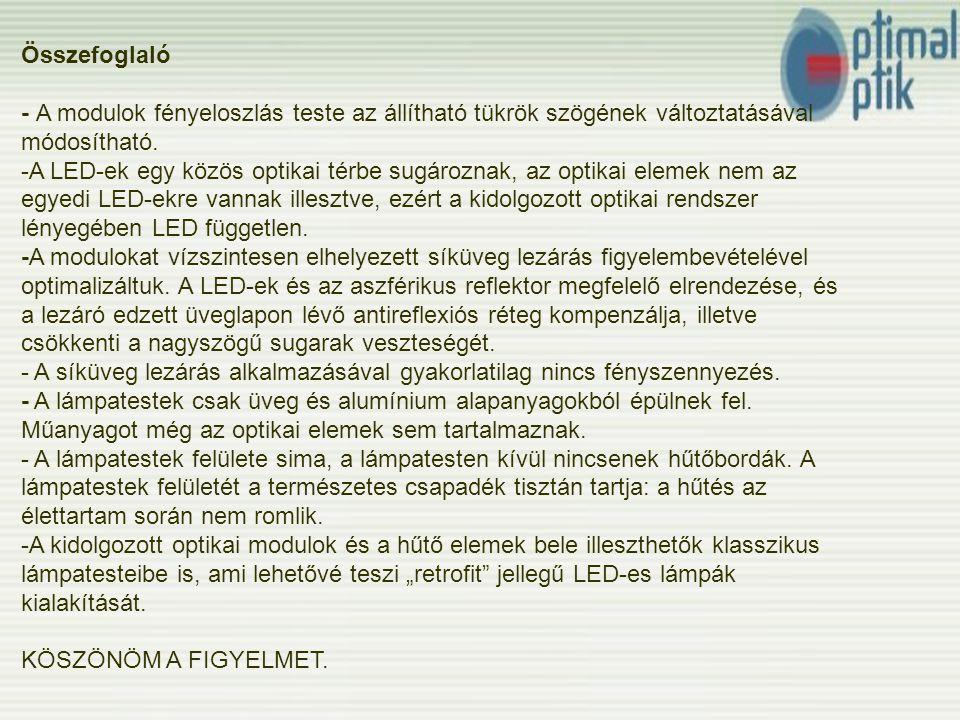 Összefoglaló - A modulok fényeloszlás teste az állítható tükrök szögének változtatásával módosítható.