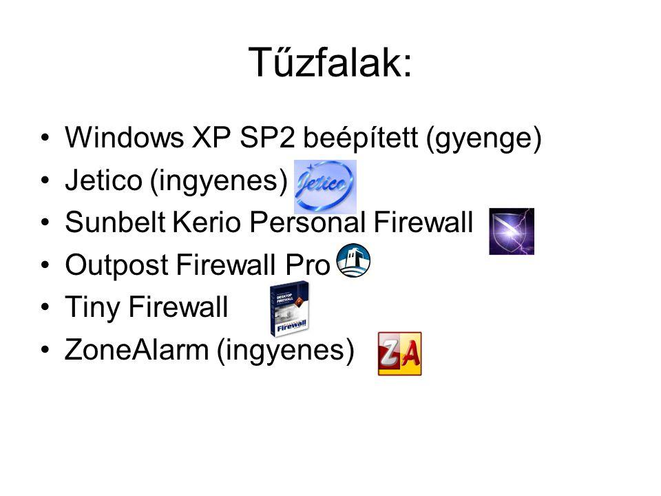 Tűzfalak: •Windows XP SP2 beépített (gyenge) •Jetico (ingyenes) •Sunbelt Kerio Personal Firewall •Outpost Firewall Pro •Tiny Firewall •ZoneAlarm (ingyenes)