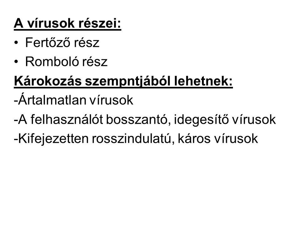 A vírusok részei: •Fertőző rész •Romboló rész Károkozás szempntjából lehetnek: -Ártalmatlan vírusok -A felhasználót bosszantó, idegesítő vírusok -Kifejezetten rosszindulatú, káros vírusok