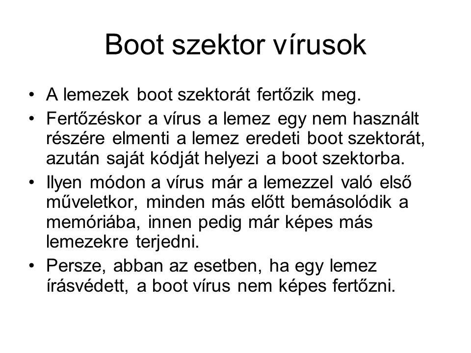 Boot szektor vírusok •A lemezek boot szektorát fertőzik meg.