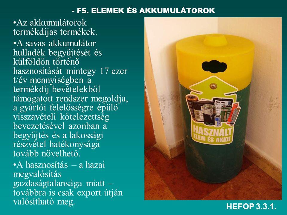 HEFOP 3.3.1. - F5. ELEMEK ÉS AKKUMULÁTOROK •Az akkumulátorok termékdíjas termékek. •A savas akkumulátor hulladék begyűjtését és külföldön történő hasz