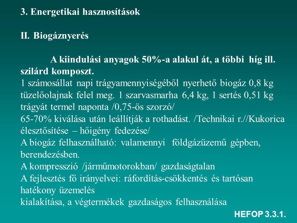 HEFOP 3.3.1. 3. Energetikai hasznosítások II. Biogáznyerés A kiindulási anyagok 50%-a alakul át, a többi híg ill. szilárd komposzt. 1 számosállat napi
