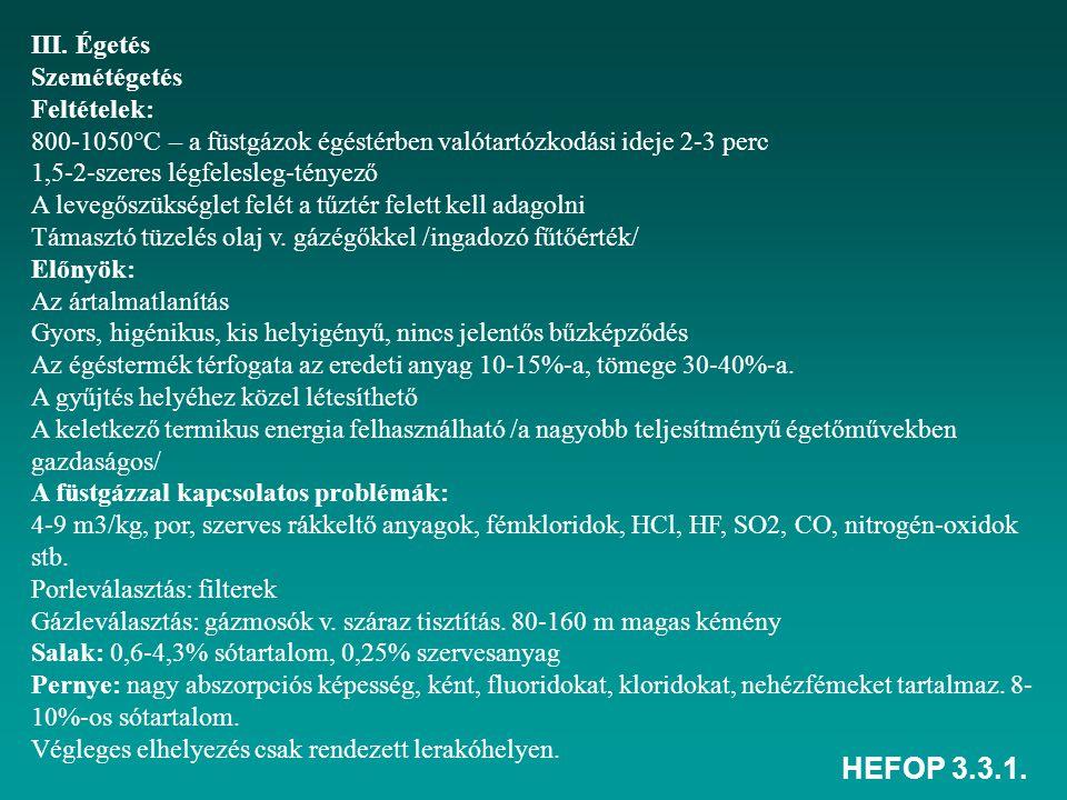 HEFOP 3.3.1. III. Égetés Szemétégetés Feltételek: 800-1050°C – a füstgázok égéstérben valótartózkodási ideje 2-3 perc 1,5-2-szeres légfelesleg-tényező