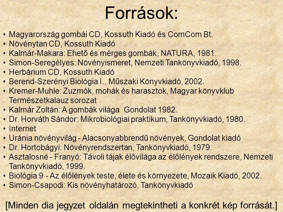 Források: •Magyarország gombái CD, Kossuth Kiadó és ComCom Bt. •Növénytan CD, Kossuth Kiadó •Kalmár-Makara: Ehető és mérges gombák, NATURA, 1981. •Sim