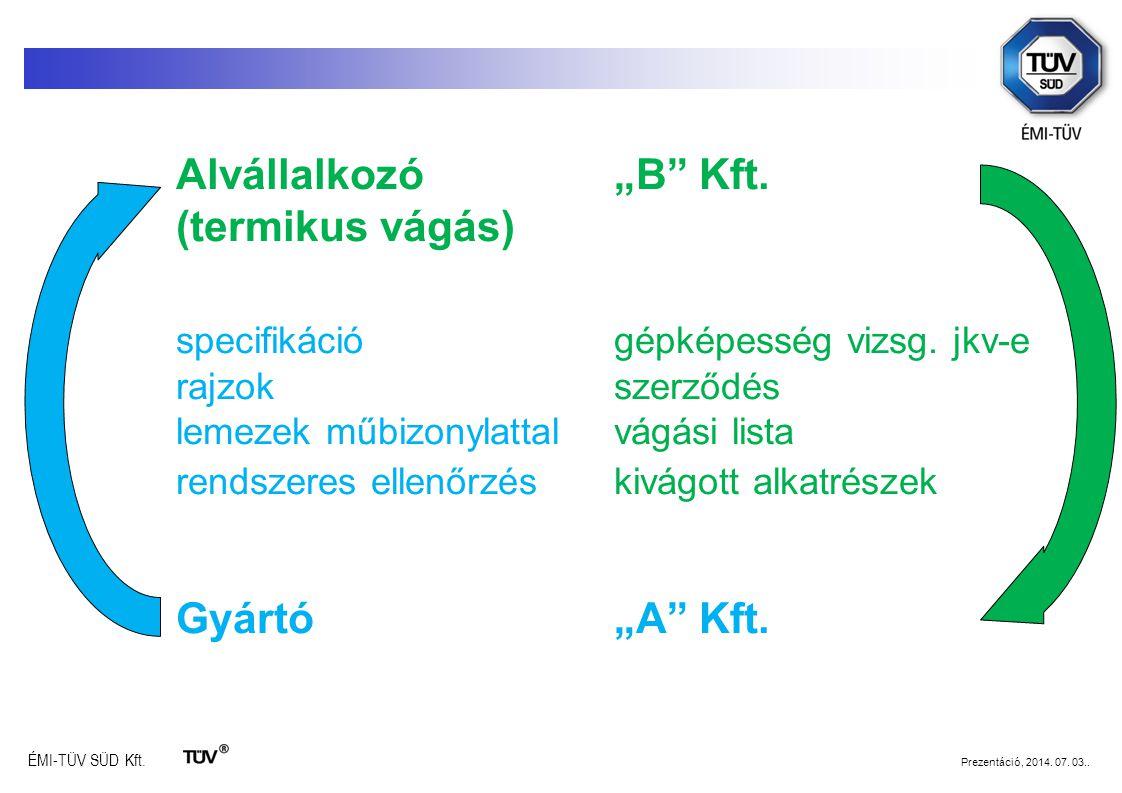 """ÉMI-TÜV SÜD Kft. Prezentáció, 2014. 07. 03.. Alvállalkozó """"B"""" Kft. (termikus vágás) specifikációgépképesség vizsg. jkv-e rajzokszerződés lemezek műbiz"""