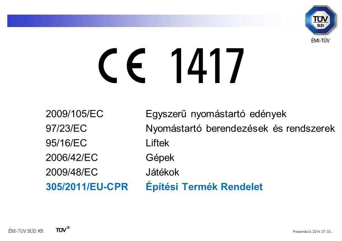 ÉMI-TÜV SÜD Kft. Prezentáció, 2014. 07. 03.. 2009/105/EC Egyszerű nyomástartó edények 97/23/EC Nyomástartó berendezések és rendszerek 95/16/EC Liftek
