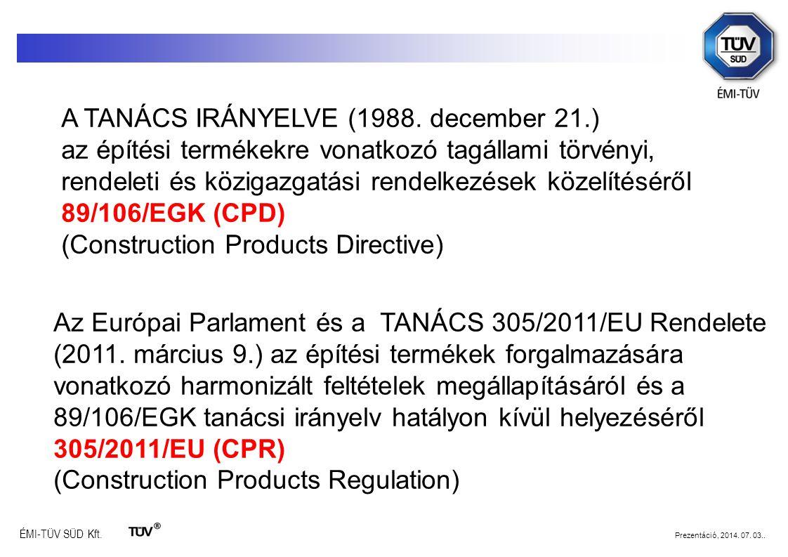 A TANÁCS IRÁNYELVE (1988. december 21.) az építési termékekre vonatkozó tagállami törvényi, rendeleti és közigazgatási rendelkezések közelítéséről 89/