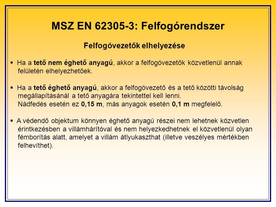 MSZ EN 62305-3: Felfogórendszer Felfogóvezetők elhelyezése  Ha a tető nem éghető anyagú, akkor a felfogóvezetők közvetlenül annak felületén elhelyezh
