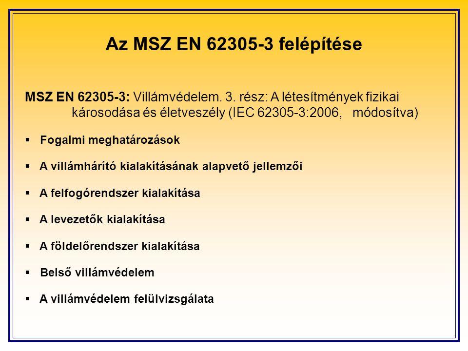 Az MSZ EN 62305-3 felépítése MSZ EN 62305-3: Villámvédelem. 3. rész: A létesítmények fizikai károsodása és életveszély (IEC 62305-3:2006, módosítva) 
