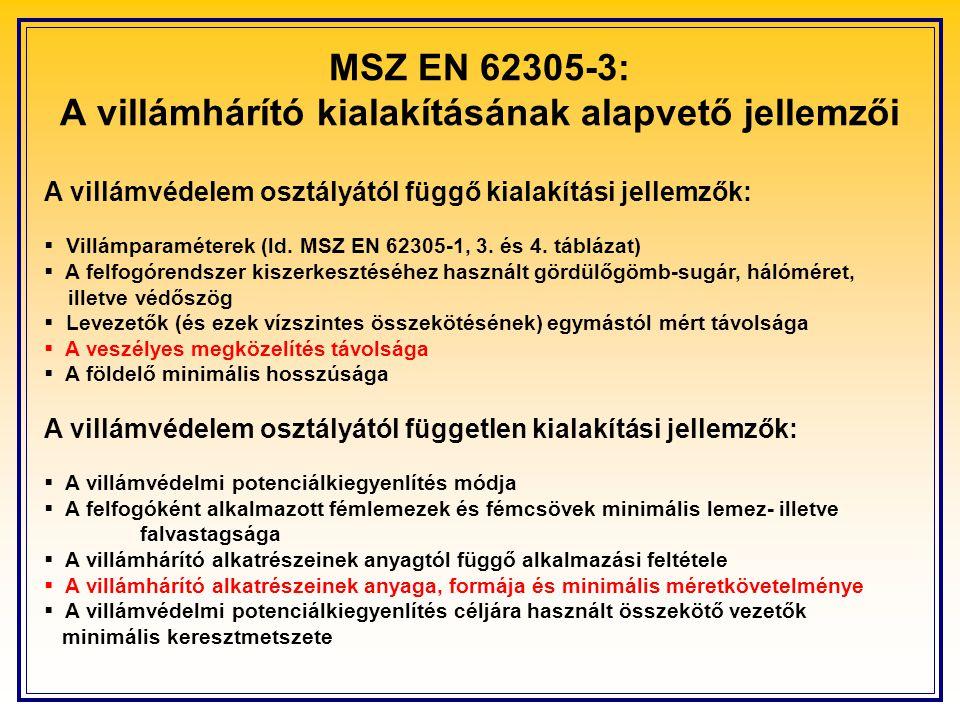 MSZ EN 62305-3: A villámhárító kialakításának alapvető jellemzői A villámvédelem osztályától függő kialakítási jellemzők:  Villámparaméterek (ld. MSZ