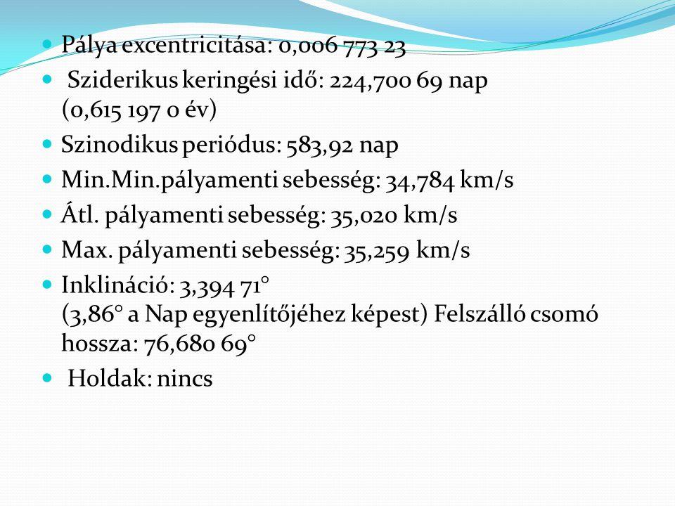 Fizikai tulajdonságok: Egyenlítői sugár: 6 051,8 km (a földi 0,94-szerese) Lapultság: < 0.000 2 Felszín területe: 4,60×10 8 km 2 (a földi 0,902-szerese) Térfogat: 9,28×10 11 km 3 (a földi 0,857-szerese) Tömeg: 4,8685×10 24 kg(a földi0,815-szerese)