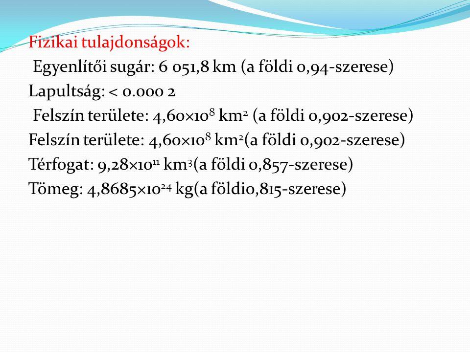 Fizikai tulajdonságok: Egyenlítői sugár: 6 051,8 km (a földi 0,94-szerese) Lapultság: < 0.000 2 Felszín területe: 4,60×10 8 km 2 (a földi 0,902-szeres