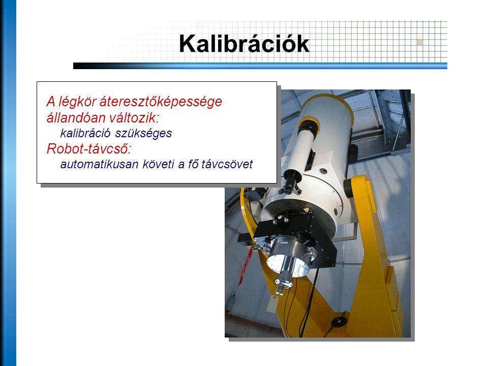 Kalibrációk A légkör áteresztőképessége állandóan változik: kalibráció szükséges Robot-távcső: automatikusan követi a fő távcsövet A légkör áteresztőképessége állandóan változik: kalibráció szükséges Robot-távcső: automatikusan követi a fő távcsövet