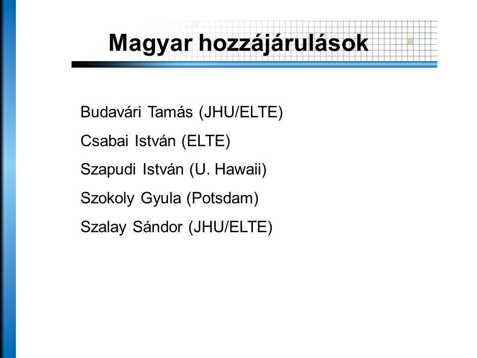 Magyar hozzájárulások Budavári Tamás (JHU/ELTE) Csabai István (ELTE) Szapudi István (U.