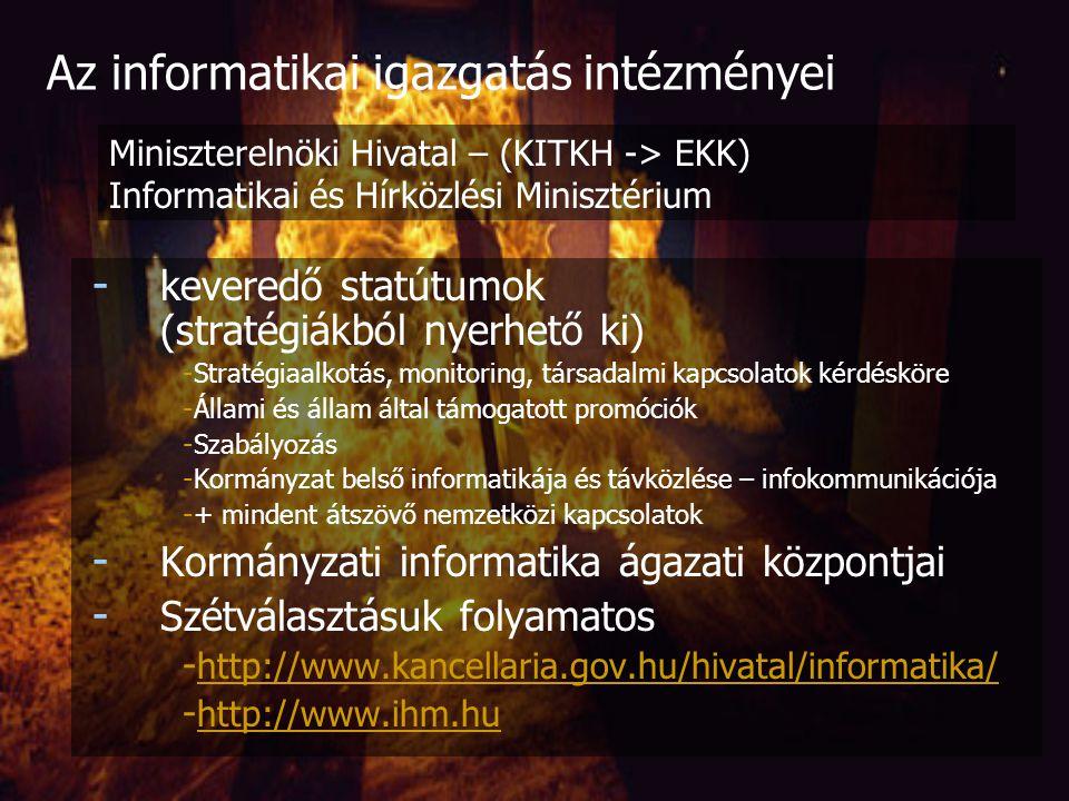 Az Országgyűlés Informatikai és Távközlési Bizottsága - Két szervezeti forma: albizottság: képviselőcsoportonként egy-egy fővel, ellenzéki elnökkel (ellenőrzési alb, eu-integrációs alb;) munkacsoport: meghatározott feladatok létrehozására, önkéntesen - Technikai jellegű feladatok az Ogy főtitkárának alárendeltek a titkárság látja el: - Ülések megszervezése, albizottságok és munkacsoportok tevékenységének elősegítése, regisztrálása, - Levelezés, nyilvántartás-vezetés, dokumentáció (előkészítés, kezelés), szerződés-előkészítés - Pénzügyi keret felhasználása Az informatikai igazgatás intézményei