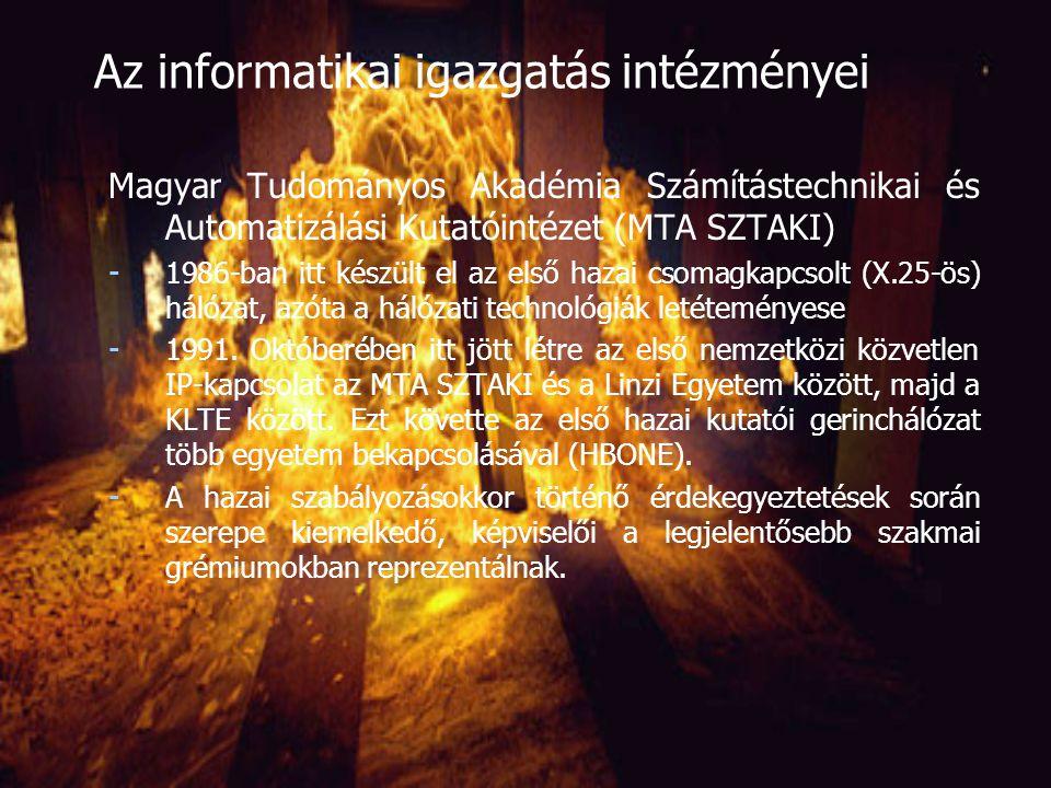 Magyar Tudományos Akadémia Számítástechnikai és Automatizálási Kutatóintézet (MTA SZTAKI) - 1964-ben alapították (a KFKI MSZKI-beolvasztása után) az ország egyetlen informatikai kutatóintézete (ma 200 főállású tudományos kutató, tudományos fokozattal 70 fő felett) - A múltban nagy szerepe volt a számítógépes technikák elterjesztésében - Eredmények: speciális hardvereszközök kifejlesztésében és egyedi irányítási rendszerek megvalósításában (gépipar folyamat-irányítás, NYÁK-gyártás és –ellenőrzés) - Ma kizárólag hozzáadott szellemi értéket hoz létre (nem gyárt, nem kereskedik): irányítástechnika, alkalmazott matematikai alap- és alkalmazott kutatások, ezek hasznosítása a kutatás-fejlesztés, rendszertervezés és –integrálás, tanácsadás és szoftverfejlesztés területén Az informatikai igazgatás intézményei