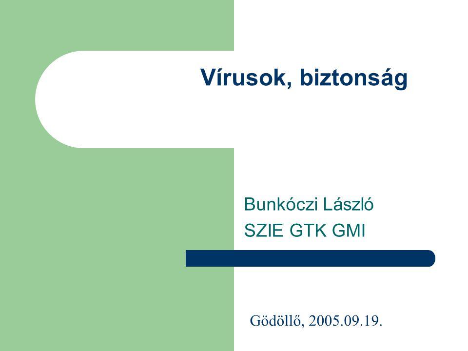 Vírusok, biztonság Bunkóczi László SZIE GTK GMI Gödöllő, 2005.09.19.