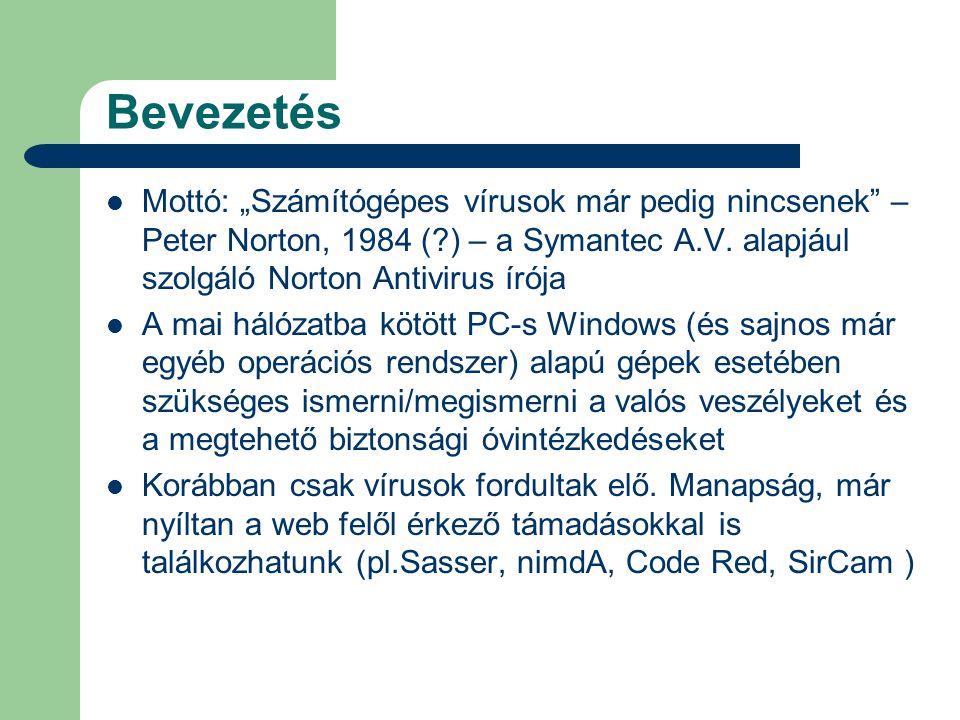 """Bevezetés  Mottó: """"Számítógépes vírusok már pedig nincsenek – Peter Norton, 1984 ( ) – a Symantec A.V."""