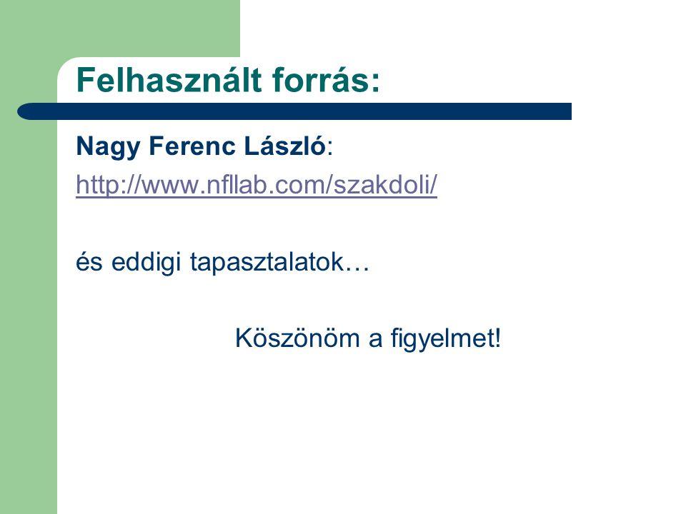 Felhasznált forrás: Nagy Ferenc László: http://www.nfllab.com/szakdoli/ és eddigi tapasztalatok… Köszönöm a figyelmet!